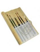 Bambukinis dėklas teptukams